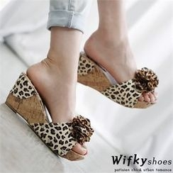 Wifky - Leopard Print Wedge Slide Sandals