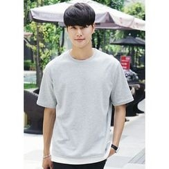 JOGUNSHOP - Round-Neck Short-Sleeve Colored T-Shirt