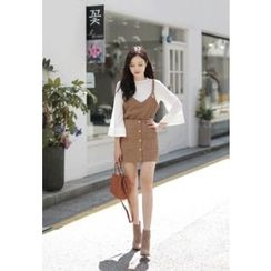 MyFiona - Set: Bustier Top + Wide-Sleeve Top + Mini Skirt
