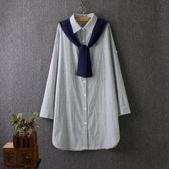 Blue Rose - Mock Two-Piece Striped Long Shirt