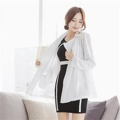 SUVINSHOP - Chiffon Trench Jacket with Sash