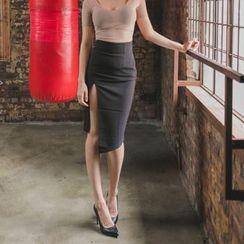 clubber - Slit-Front Midi Skirt