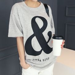 DANI LOVE - Letter Print Boxy-Fit T-Shirt
