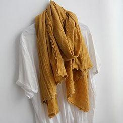 Cozykiss - 麻混紡通花圍巾