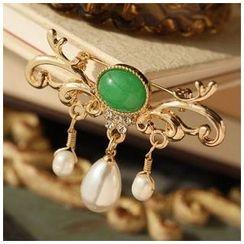 MISSTYLE - Faux Pearl Gemstone Brooch