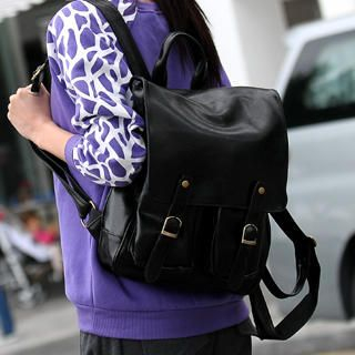 59 Seconds - Buckled Faux Leather Backpack