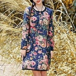 Diosa - Flower Print Long-Sleeve Dress