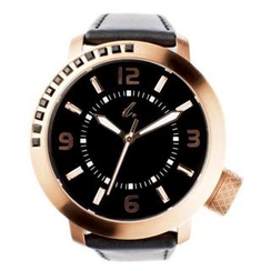 t. watch - Diamond Lens Glass Genuine Leather Strap Watch