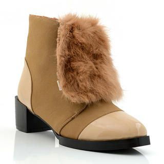 Lane172 - Faux-Fur Accent Ankle Boots
