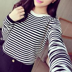 Coralie - Long Sleeved Striped Knit Top