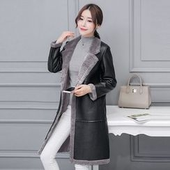 Cobogarden - Notch Lapel Faux Leather Coat
