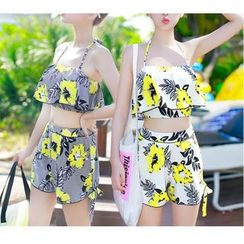 Jumei - Couple Set: Floral Print Bikini + Swim Shorts / Printed Drawstring Shorts