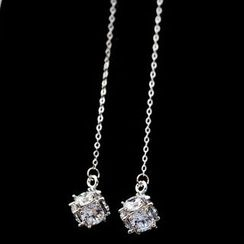 HayHill - Rhinestone Dangle Earrings / Clip-On Earrings