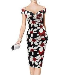 Forest Of Darama - Floral Print Cold Shoulder Sheath Dress