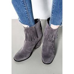 INSTYLEFIT - Tasseled Faux-Suede Ankle Boots