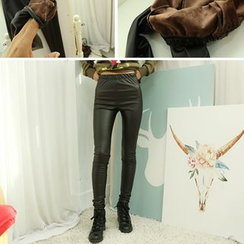 Dodostyle - Brushed Fleece Lined Faux-Leather Leggings