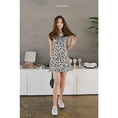 CHERRYKOKO - Sleeveless Floral A-Line Mini Dress