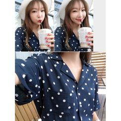 hellopeco - Notched Lapel Polka-Dot Shirt