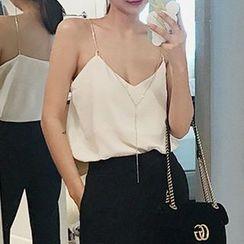 Seoul Fashion - Chain-Strap Sleeveless Top