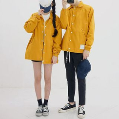 Seoul Homme - Couple Snap-Button Cotton Jacket (8 Colors)