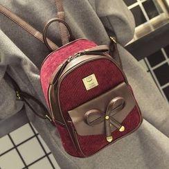 Youshine - Bow Faux Leather Panel Backpack