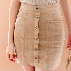 chuu - Buttoned Faux-Suede Mini Pencil Skirt