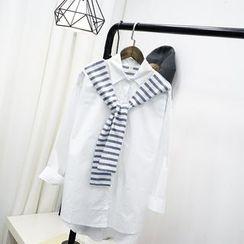 Polaris - Striped Panel Tie Front Shirt