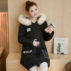 Ohayo - Maternity Furry Trim Hooded Padded Coat