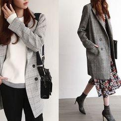 NIPONJJUYA - Double-Breasted Checked Wool Blend Coat