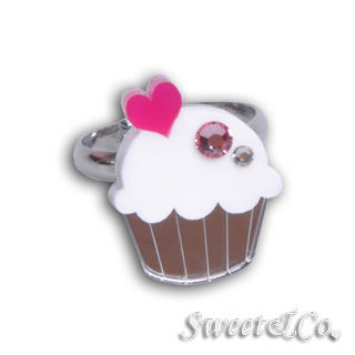 Sweet & Co. - Mini White Cupcake Crystal Silver Ring
