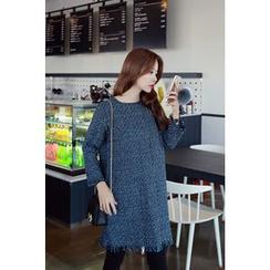 Momnuri - Maternity Fringed Tweed Shift Dress