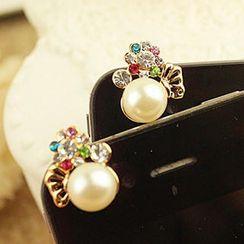 Fit-to-Kill - 钻石珍珠手机防尘塞 - 白色