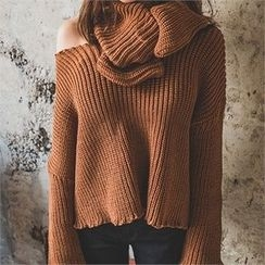 ERANZI - Frill-Edge Sweater with Scarf