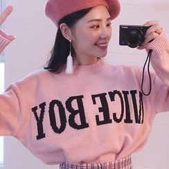 chuu - Drop-Shoulder Lettering Knit Top