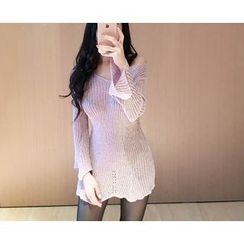 Marlangrouge - Glittered Knit Mini Dress with Sash