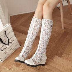Pretty in Boots - Lace Inset Hidden Wedge Tall Boots
