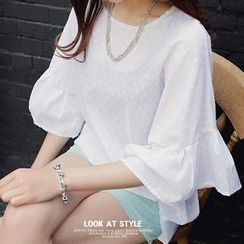 REDOPIN - Bell-Sleeve Dobby Blouse