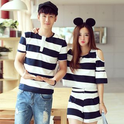 Je T'aime - Couple Matching Striped Short Sleeve T-Shirt / Cut Out Shoulder Short Sleeve T-Shirt + Shorts