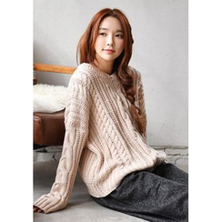 GOROKE - V-Neck Cable-Knit Sweater