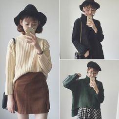 Bloombloom - Turtleneck Chunky Knit Sweater