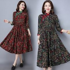 Diosa - Floral Print Linen Cotton Long-Sleeve Dress