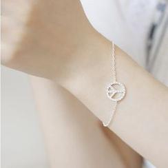 Zundiao - Sterling Silver Rhinestone Peace Sign Bracelet