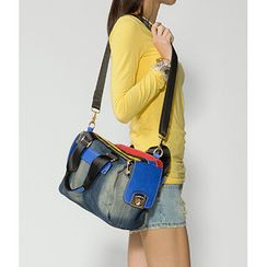 59 Seconds - Color-Block Denim Shoulder Bag