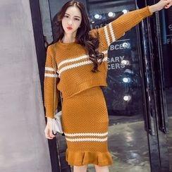 KAKAGA - Set: Striped Sweater + Pencil Skirt