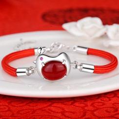 Zundiao - Sterling Silver Agate Chicken Bracelet