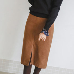 JUSTONE - Slit-Hem Midi Pencil Skirt