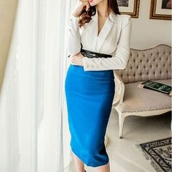 Aurora - Set: Long-Sleeve Top + Slit-Back Pencil-Cut Skirt