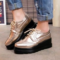 Sole monkey - Lace-Up Brogue Patent Platform Shoes