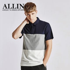 ALLIN - Color Block Short Sleeve Polo Shirt