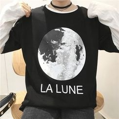 Eva Fashion - Moon Print Short Sleeve T-Shirt
